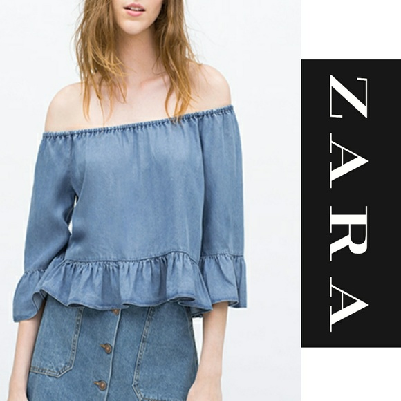 625468640f1 🚨SALE🚨 ZARA Chambray Denim Ruffle Shoulder Top. M_5ac1d494a44dbe576e4eff9a
